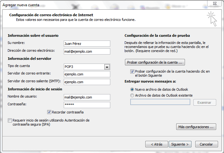 Acceso mediante Office Outlook 2010