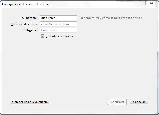 Acceso mediante Mozilla Thunderbird