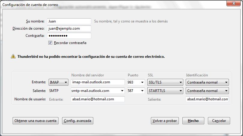 Acceso mediante Mozilla Thunderbird 2