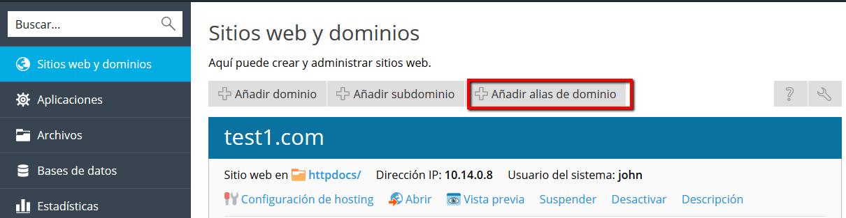 Adición de alias de dominio